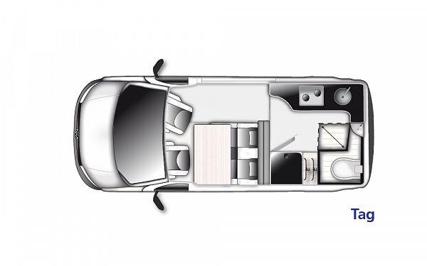 Westfalia Club Joker High Roof 2021 (10004) Floorplan